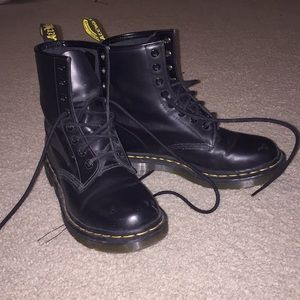 Matte black Doc Martins boots in a women's size 7.